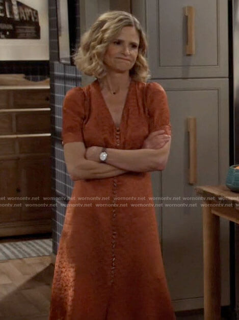 Jean's orange button front midi dress on Call Your Mother