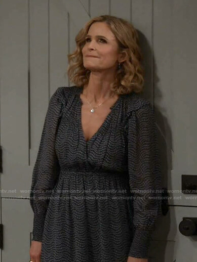 Jean's black printed v-neck dress on Call Your Mother