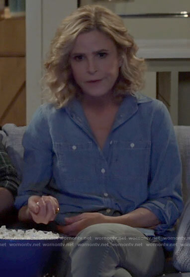 Jean's chambray shirt on Call Your Mother