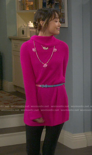 Jen's pink sweater dress on Last Man Standing