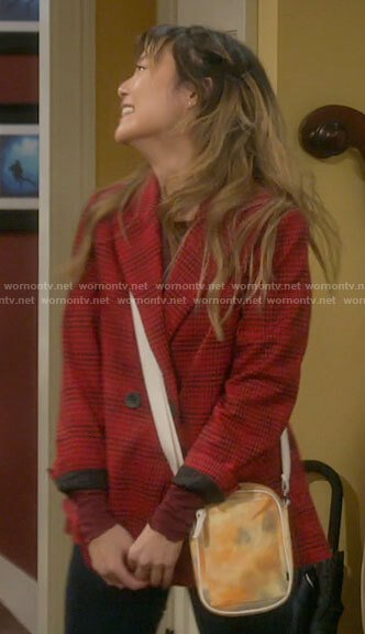 Jen's red checked blazer on Last Man Standing