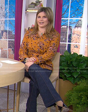 Jenna's orange floral blouse and flare jeans on Today