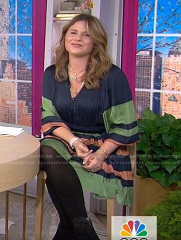 Jenna's navy, orange and green striped dress on Today