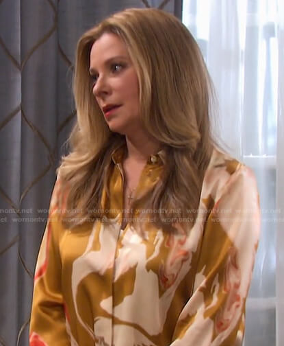 Jennifer's abstract print blouse on Days of our Lives
