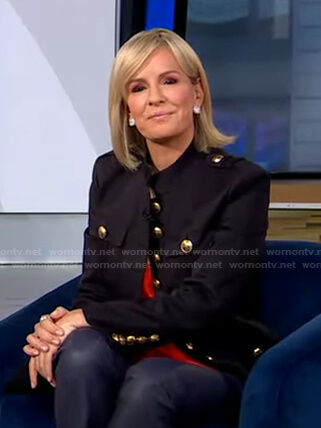 Jennifer's black military jacket with gold buttons on Good Morning America