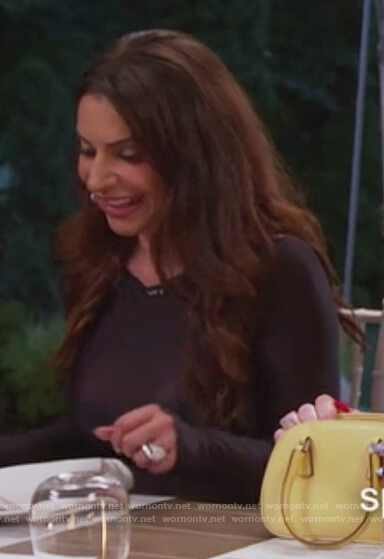 Jenifer's black off-white mesh bodysuit on The Real Housewives of New Jersey