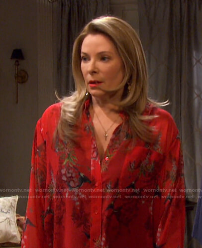 Jennifer's red bird print blouse on Days of our Lives