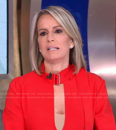Jennifer's red self-tie collar dress on Good Morning America