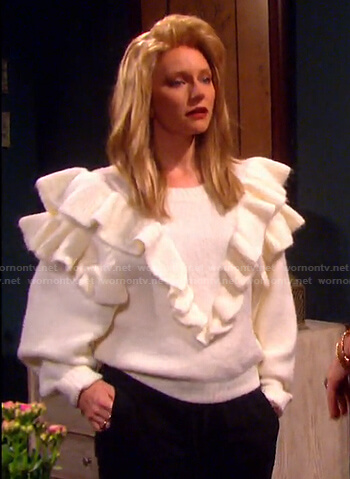 Jennifer's white ruffle sweater on Days of our Lives