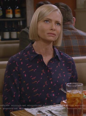 Jill's printed navy blouse on Mom