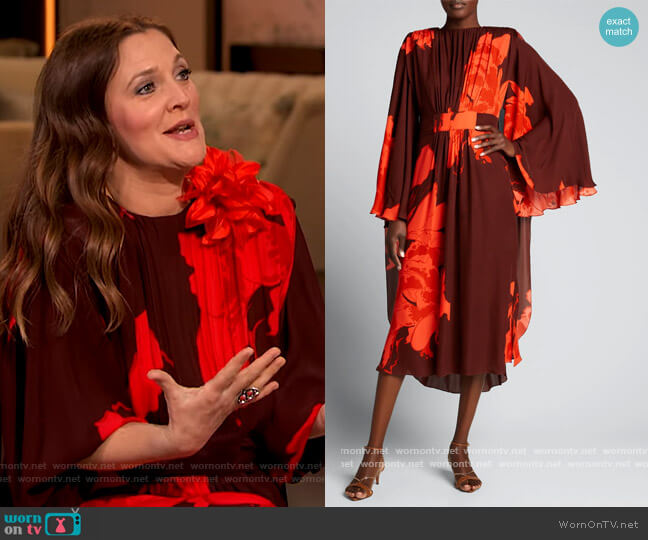 A Secret Place Floral-Print Georgette Cape Dress by Johanna Ortiz worn by Drew Barrymore  on The Drew Barrymore Show