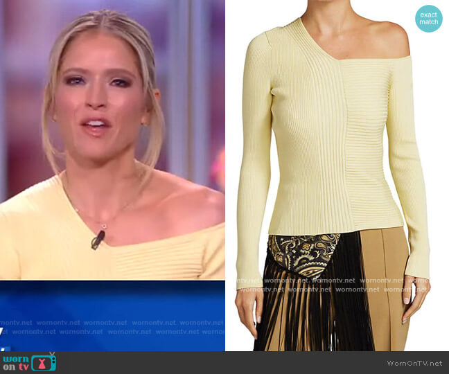 Charlie Asymmetric Ribbed Sweater by Jonathan Simkhai worn by Sara Haines  on The View