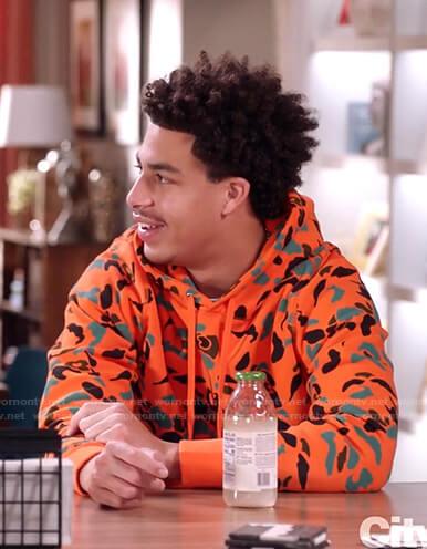 Junior's orange camo hoodie on Black-ish
