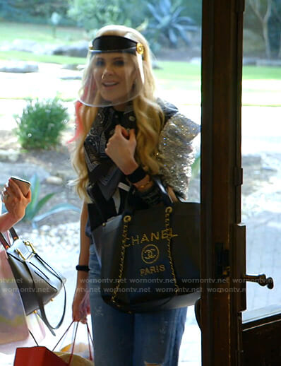 Kameron's face shield and Chanel tote bag on The Real Housewives of Dallas