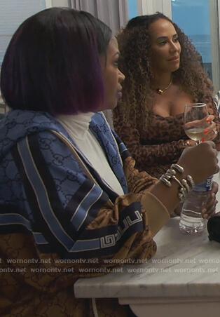 Kandi's Gucci logo print jacket on The Real Housewives of Atlanta
