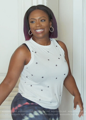 Kandi's white star print tank on The Real Housewives of Atlanta