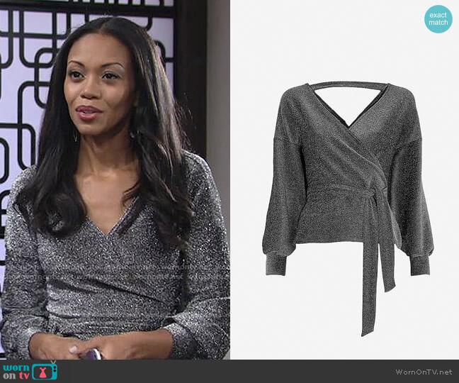 Karen Millen Glitter Off Shoulder Jersey Top worn by Amanda Sinclair (Mishael Morgan) on The Young & the Restless