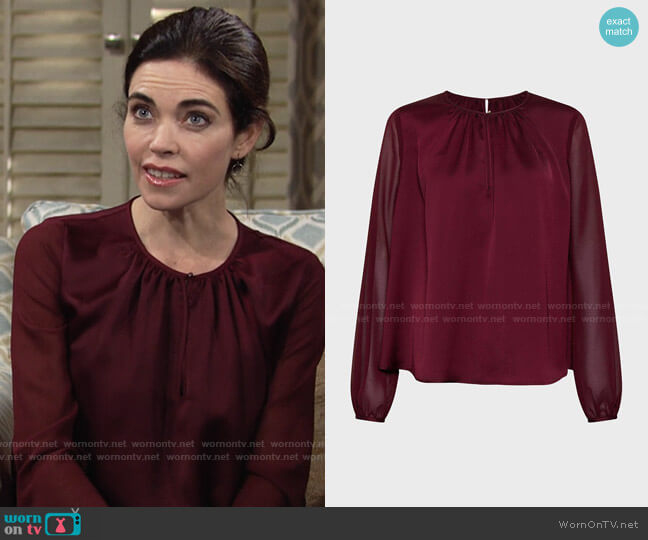 Karen Millen Sheer and Opaque Blouse worn by Victoria Newman (Amelia Heinle) on The Young & the Restless