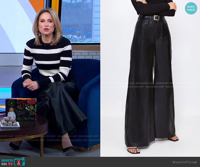 Leather Wide Leg Trouser by Karen Millen worn by Amy Robach  on Good Morning America