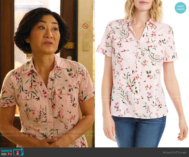Petite Short-Sleeve Floral-Print Button-Down Shirt by Karen Scott worn by Mrs Kim (Jean Yoon) on Kims Convenience