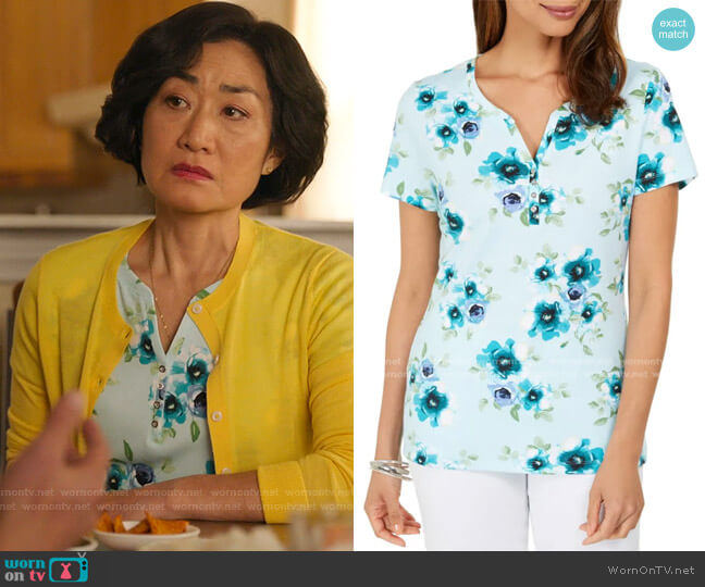 Floral-Print Henley Top by Kendra Scott worn by Mrs Kim (Jean Yoon) on Kims Convenience