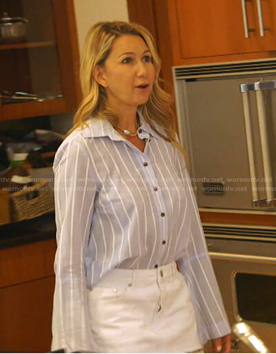 Kary's blue striped shirt on The Real Housewives of Dallas