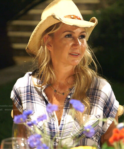 Kary's plaid short sleeve shirt on The Real Housewives of Dallas
