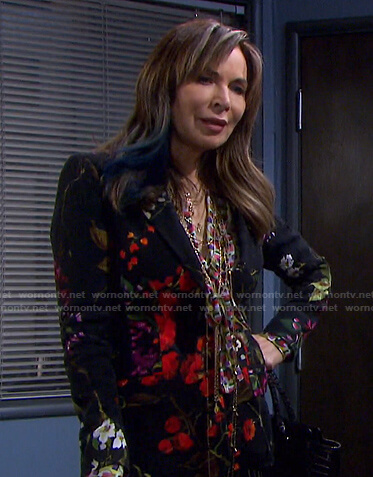 Kate's print tie neck blouse and floral blazer on Days of our Lives
