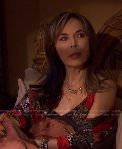 Kate's black and red print slip dress and robe on Days of our Lives
