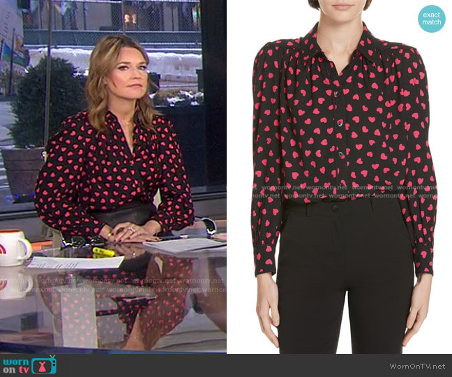 Heartbeat Blouse by Kate Spade worn by Savannah Guthrie  on Today
