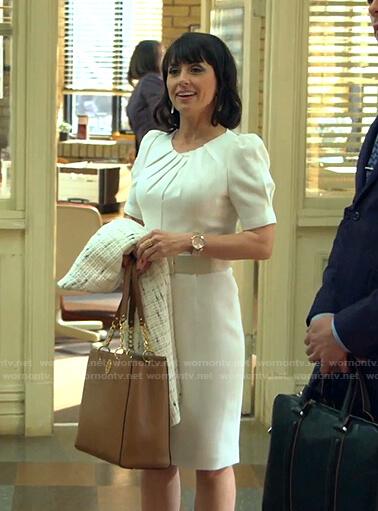 Kathleen's white pleated neck sheath dress on Good Trouble