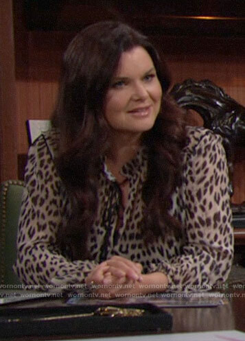 Katie's leopard print blouse on The Bold and the Beautiful