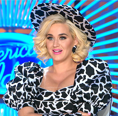 Katy's cow print top and hat on American Idol