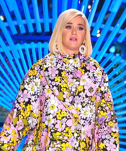 Katy's multicolor floral print coat on American Idol