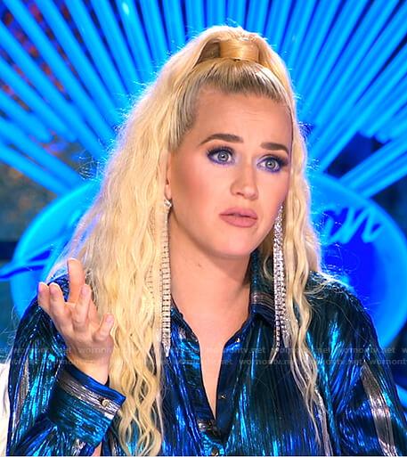 Katy's metallic blue shirtdress and fringe earrings on American Idol