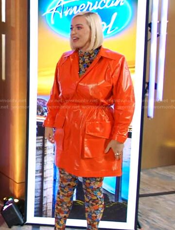 Katy's floral top and orange coat on American Idol