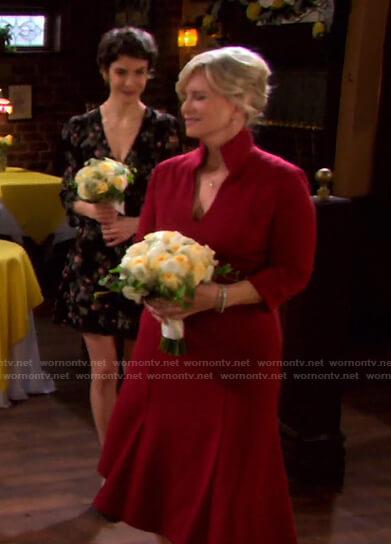 Kayla's red v-neck dress on Days of our Lives