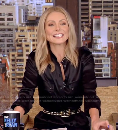 Kelly's black jumpsuit and studded belt on Live with Kelly and Ryan