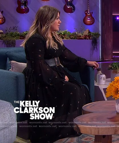 Kelly's black floral sheer dress on The Kelly Clarkson Show