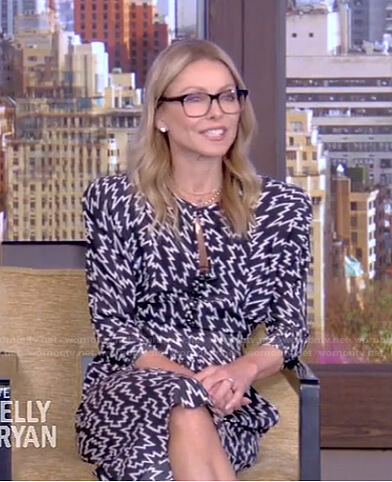 Kelly's black printed dress on Live with Kelly and Ryan