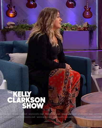 Kelly's red printed pants on The Kelly Clarkson Show