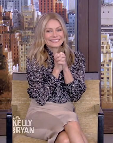 Kelly's metallic print blouse and beige skirt on Live with Kelly and Ryan