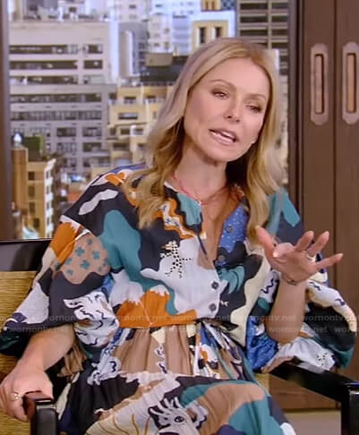 Kelly's mixed print shirtdress on Live with Kelly and Ryan