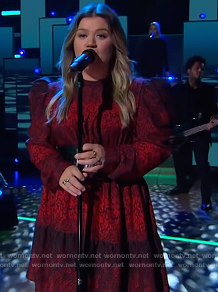 Kelly's red floral print puff sleeve dress on The Kelly Clarkson Show