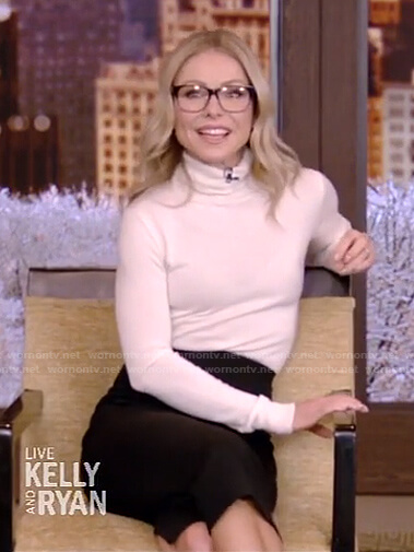 Kelly's white turtleneck sweater and black skirt on Live with Kelly and Ryan