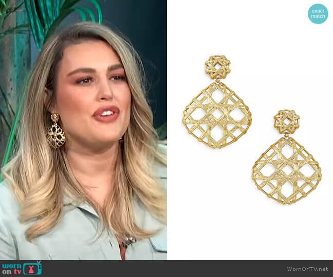 Natalie Openwork Statement Drop Earrings by Kendra Scott worn by Carissa Loethen Culiner  on E! News