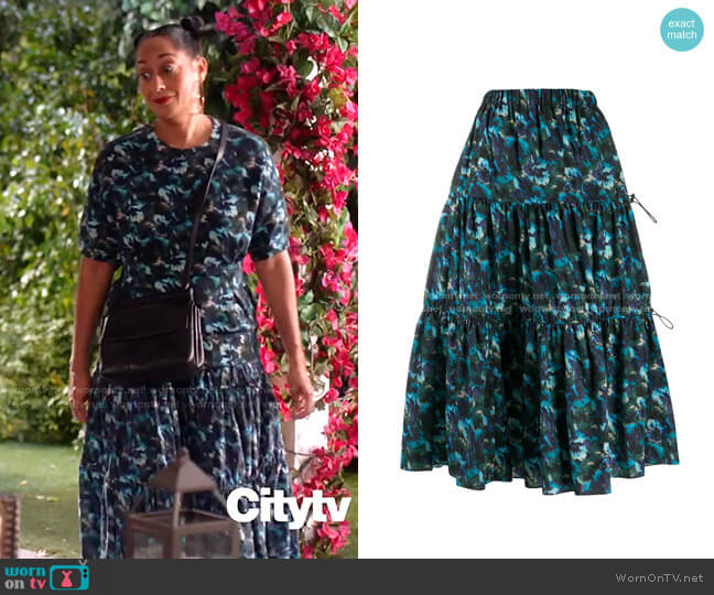 Floral-Print Tiered Skirt by Kenzo worn by Rainbow Johnson (Tracee Ellis Ross) on Blackish