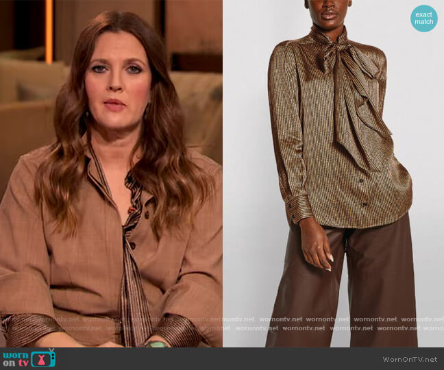 Printed Silk Pussybow Blouse by Kiton worn by Drew Barrymore  on The Drew Barrymore Show