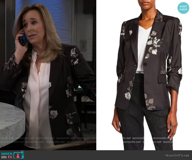 Claudia Floral Gathered Sleeve Jacket by Kobi Halperin worn by Laura Collins (Genie Francis) on General Hospital
