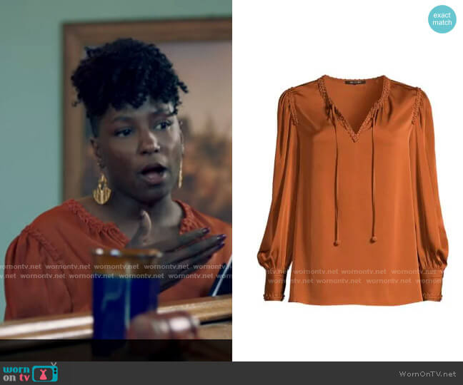 Kobi Halperin Alessandra Blouse worn by Nova Bordelon (Rutina Wesley) on Queen Sugar
